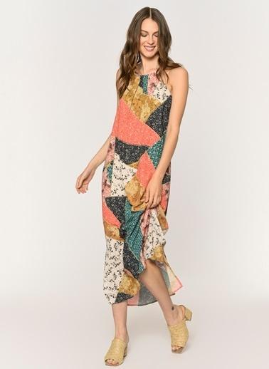 Loves You Kelepçe Yaka Astarlı Patcwork Elbise Renkli